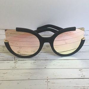 Accessories - Black Oversized Cat Eye Mirror Lens Sunglasses